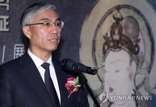 中国驻韩国大使邱国洪在开幕式上致辞。(韩联社)
