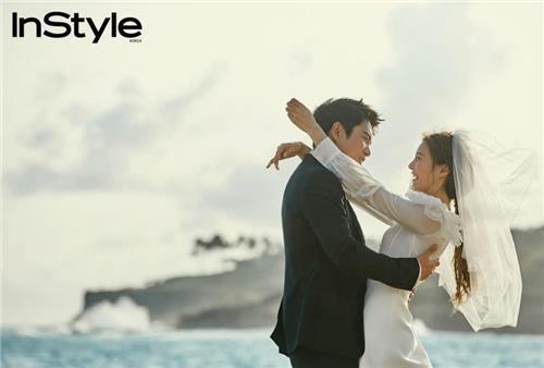 朱相昱和车艺莲婚纱照(韩联社/BH娱乐提供)