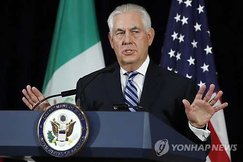 资料图片:美国国务卿蒂勒森(韩联社/法新社)