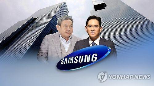 资料图片:李健熙(左)和李在�F(韩联社)
