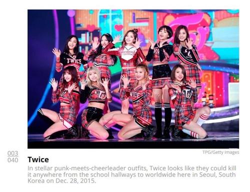图为2015年12月TWICE出演SBS电视台歌谣大战时身穿的演出服  (韩联社/美国公告牌官网截图)