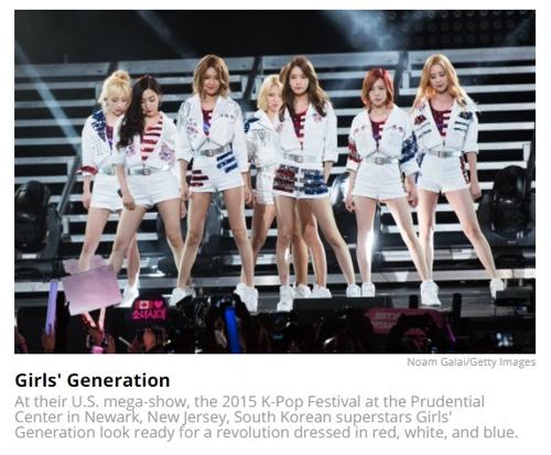 图为女团少女时代上榜演出服(韩联社/美国公告牌官网截图)