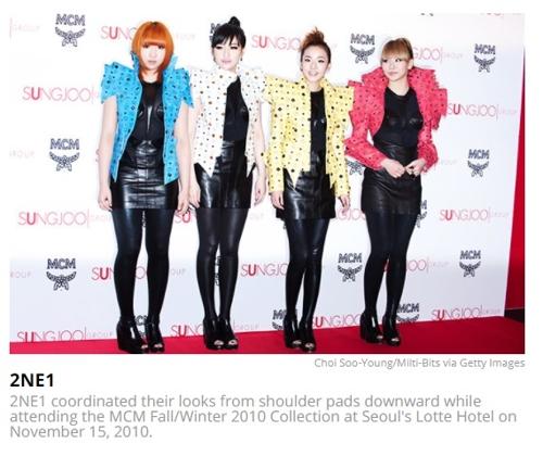 图为女团2NE1上榜演出服(韩联社/美国公告牌官网截图)