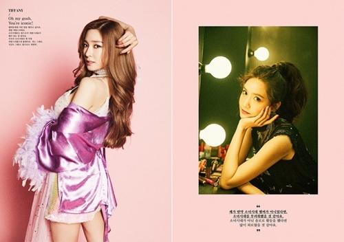 少女时代第6张正规专辑《Holiday Night》成员Tiffany(左)和允儿预告照片(官方脸谱)