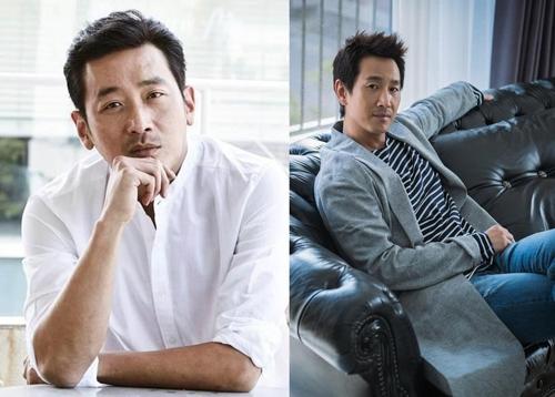 演员河正宇(左)和李善均(韩联社/韩国经纪公司Artistcompany提供)