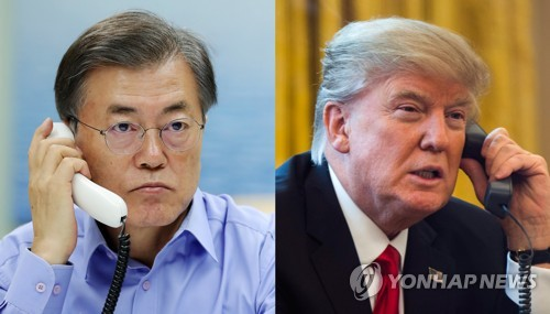 资料图片:左为韩国总统文在寅,右为美国总统特朗普。(韩联社)