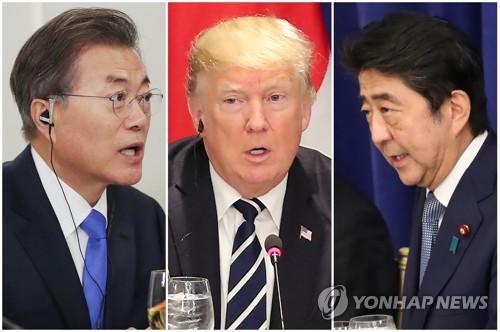 美国东部时间9月21日,在纽约,韩美日首脑在工作午餐会上各抒己见。(韩联社)