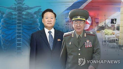 资料图片:朝鲜劳动党中央委副委员长崔龙海(左)和朝军总政治局长黄炳誓(韩联社)