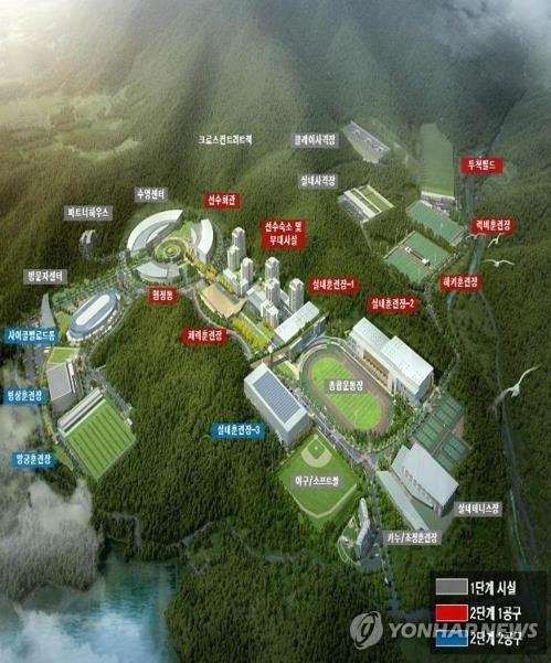 镇川选手村鸟瞰图(韩联社/文化体育观光部提供)