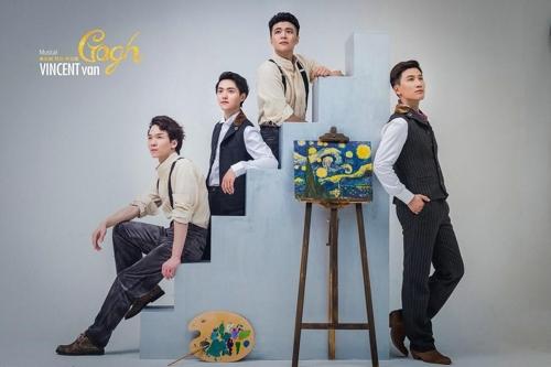 图为参演音乐剧《梵高》的中国演员。(韩联社/HJ CULTURE提供)