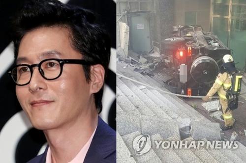 左为演员金柱赫,右为金柱赫的事发车辆。(韩联社/江南警察署提供)