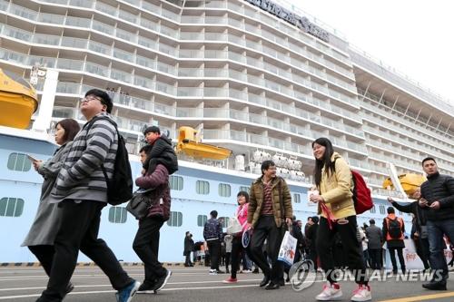 资料图片:搭乘邮轮造访釜山的中国游客(韩联社)