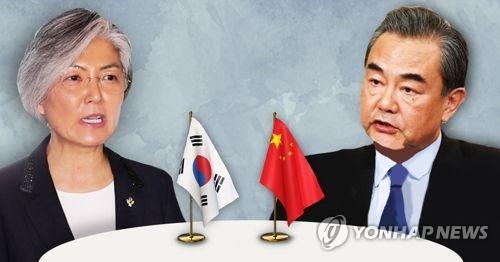 资料图片:左为康京和,右为王毅。(韩联社)