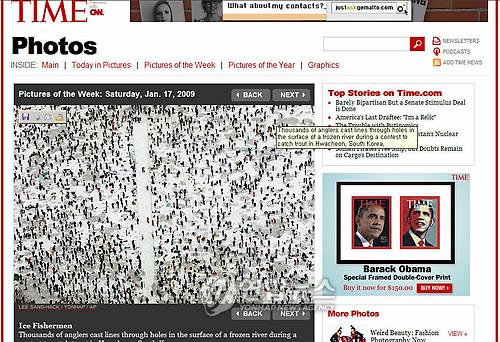 资料图片:2009年2月,华川山鳟鱼庆典登上美国《时代》周刊主页。(韩联社)