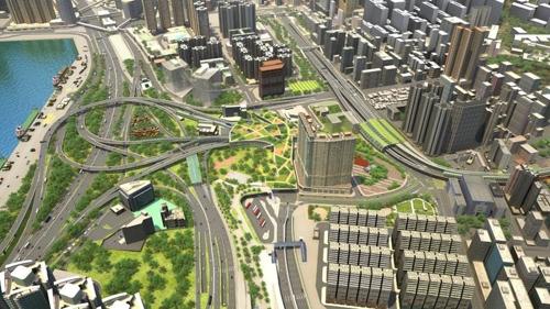 SK建设在香港公路建设项目模拟图(韩联社/SK建设提供)