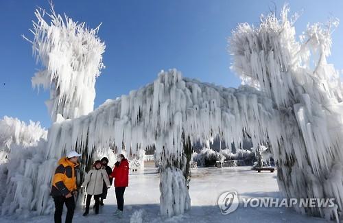 资料图片:麟蹄冰鱼节(韩联社)