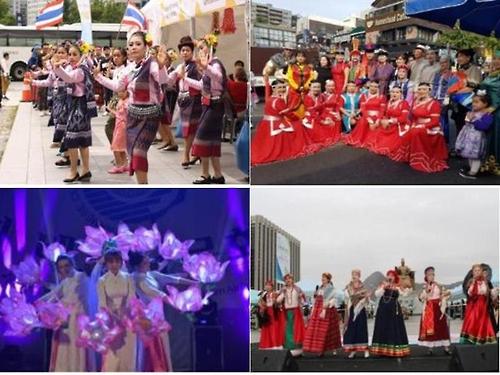 资料图片:图为首尔举行的外籍居民文化活动,从左上顺时针方向依次是泰国水灯节、蒙古儿童那达慕节、俄罗斯百万朵玫瑰庆典、越南文化日活动。(韩联社/首尔市政府提供)