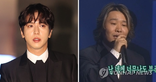资料图片:歌手郑容和(左)和曹圭��(音)(韩联社)