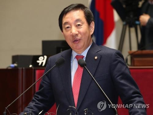 资料图片:自由韩国党党鞭金圣泰(韩联社)