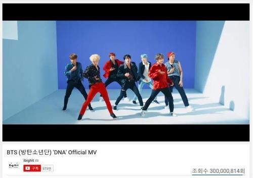 防弹少年团《DNA》MV的YouTube截图(Big Hit娱乐提供)
