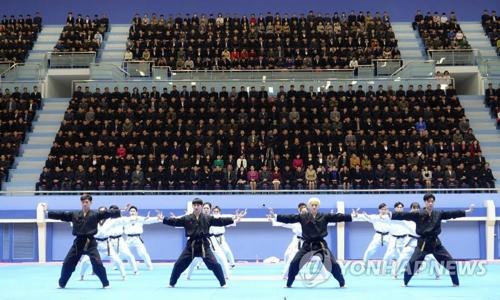 4月1日,在平壤跆拳道殿堂,韩方世界跆拳道联盟示范团进行示范表演。(韩联社/世界跆拳道联盟提供)