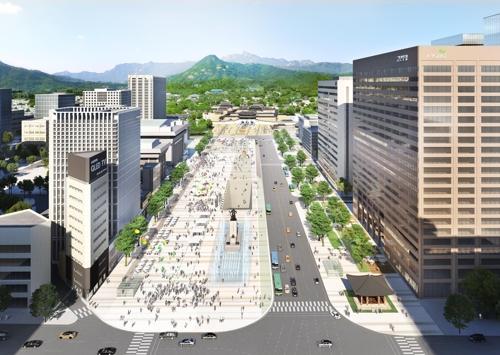 扩建后的首尔光化门广场效果图(韩联社/首尔市政府提供)