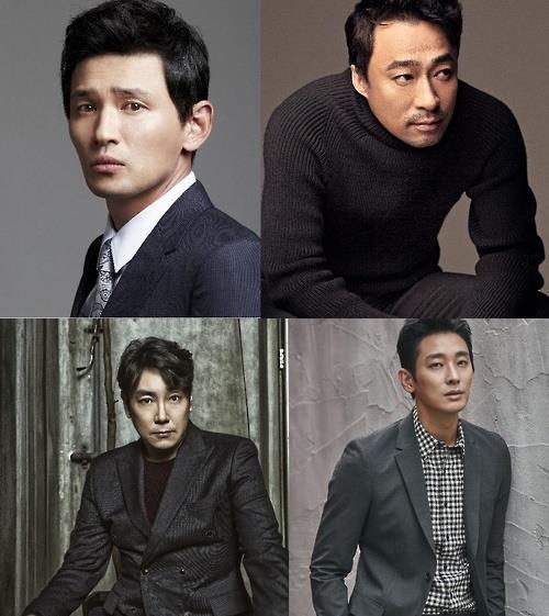 上图左为演员黄政民,右为李圣�F,下图左为赵震雄,右为朱智勋。(韩联社/CJ娱乐提供)