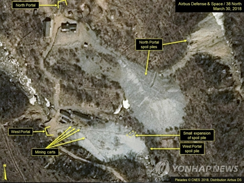 """资料图片:这是美国的朝鲜专题网站""""38 North""""2018年3月底提供的朝鲜丰溪里核试验场卫星图。(韩联社/美联社)"""