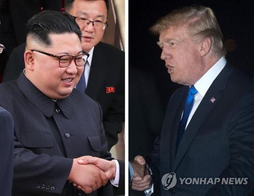 资料图片:金正恩(左)和特朗普(韩联社/新加坡通信及新闻部/法新社)