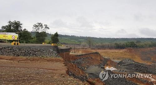老挝溃坝现场(韩联社)