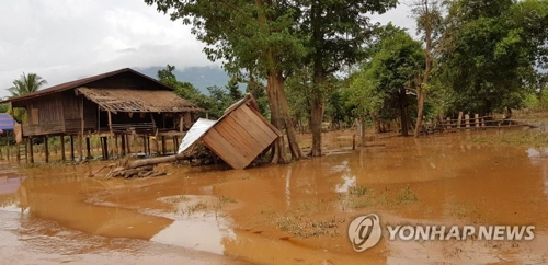 老挝水灾现场(韩联社)