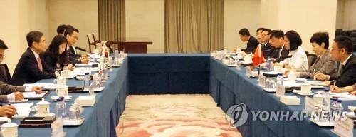 4月20日,在中国商务部大楼,韩中经贸联委会第22次会议举行。(韩联社)