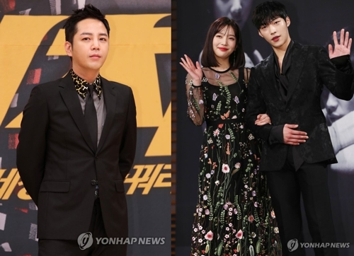 张根硕(左)、JOY和演员禹棹焕(韩联社)