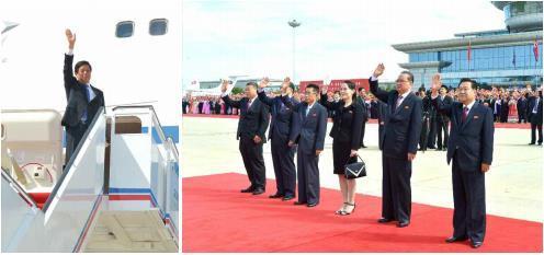 朝媒9月12日报道,栗战书一行结束访问回国。图为《劳动新闻》刊登的朝方高层到机场送行的照片。图片仅限韩国国内使用,严禁转载复制。(韩联社/《劳动新闻》)