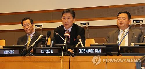 资料图片:朝鲜新任驻联合国代表金成就任朝鲜驻联合国代表部期间的图片(韩联社)