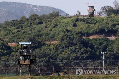 资料图片:图为京畿道中部前线的韩朝哨所,摄于9月30日。(韩联社)