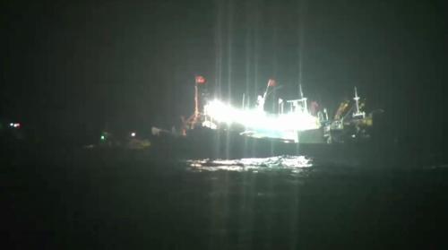 撞船事故现场照(韩联社/济州海洋警察署供图)