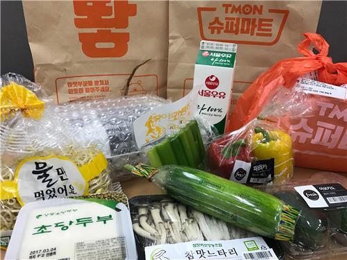 消费者在韩国团购网站Tmon超市购买的食品(Tmon供图)