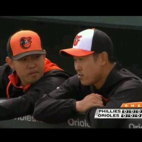 Justin Yoo (L), a Korean-American interpreter for the Baltimore Orioles, is pictured with South Korean pitcher Yoon Suk-min during Major League Baseball preseason. (photo courtesy of Justin Yoo)