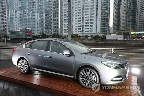 Renault Samsung's SM7 sedan shown at a media event in Busan on Sept, 3, 2014. (Yonhap)