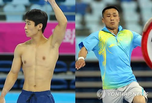 South Korean gymnast Yang Hak-seon (L) is set to duel with his North Korean rival Ri Se-gwang (R) at the upcoming Asian Games in Incheon, west of Seoul. (Yonhap file photo)