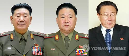 North Korea's senior delegation to the Incheon Asian Games: Hwang Pyong-so (L), Choe Ryong-hae (C) and Kim Yang-gon (Yonhap file photo)