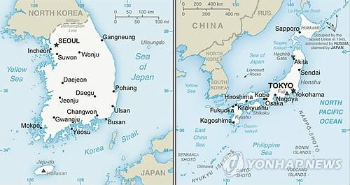 The United States omits a reference to South Korea's easternmost islets of Dokdo in the map of Korea (L) uploaded on the State Department's website, while the map of Japan includes the name. (Yonhap)