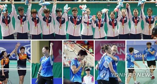 South Korea swept up all six gold medals in badminton, along with one silver and two bronze medals at the Universiade in Gwangju, South Korea. At top, the members of the gold medal-winning mixed team pose on the podium on July 8, 2015. At bottom, from left, are the mixed doubles champs Kim Gi-jung and Shin Seung-chan, the women's singles champ Sung Ji-hyun, the men's singles champ Jeon Hyeok-jin, the women's doubles winners Lee So-hee and Shin Seung-chan, and the men's doubles gold medalists Kim Sa-rang and Kim Gi-jung, all competing on July 12, 2015. (Yonhap)