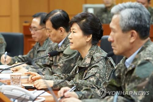 President Park Geun-hye makes comments during a surprise visit to the headquarters of Third Army in Yongin, Gyeonggi Province, on Aug. 21, 2015. (Yonhap)