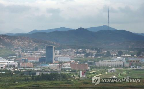 The Kaesong industrial complex in North Korea as viewed from the Dorasan observation platform in South Korea on July 24, 2015. (Yonhap file photo)
