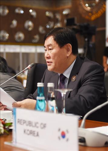 South Korean Finance Minister Choi Kyung-hwan speaks while attending the G-20 Finance Ministers and Central Bank Governors meeting in Ankara, Turkey, on Sept. 5, 2015. (Photo courtesy of finance ministry)