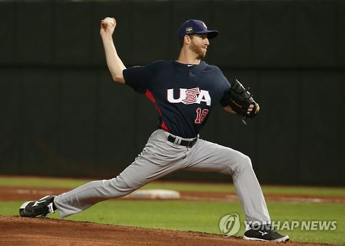 Zeke Spruill, seen here pitching for the United States against South Korea at the Premier 12 baseball tournament on Nov. 15, 2015, in Taipei, has signed with a South Korean baseball club, Kia Tigers. (Yonhap file photo)