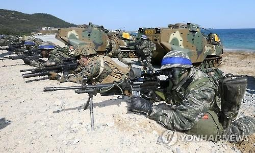 Marines in a landing drill. (Yonhap file photo)