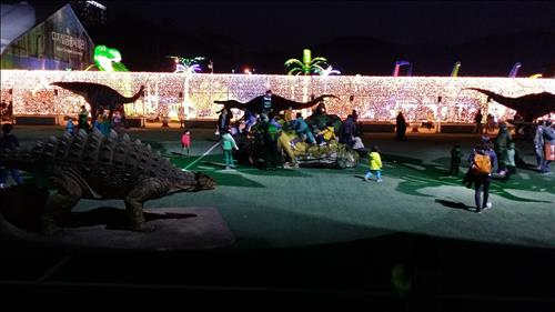 Children play in the Moonlight Garden at the main venue for the Gyeongnam Goseong Dinosaur World Expo. (Yonhap)